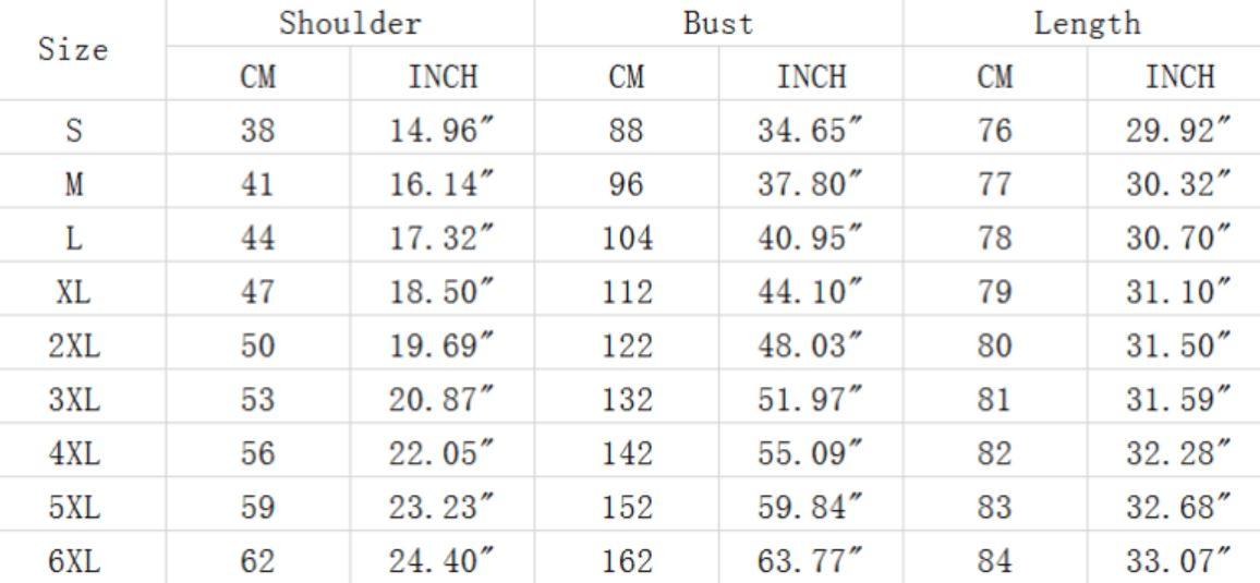 BASEBALL SHIRT size chart
