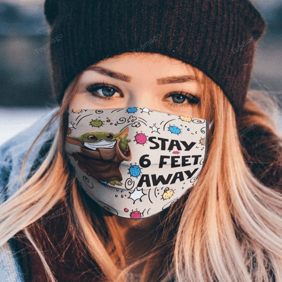 Baby yoda stay 6 feet away anti pollution face mask - maria