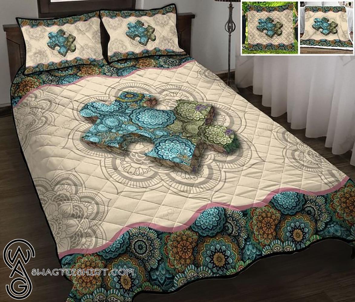 Autism awareness mandala full printing quilt - Maria