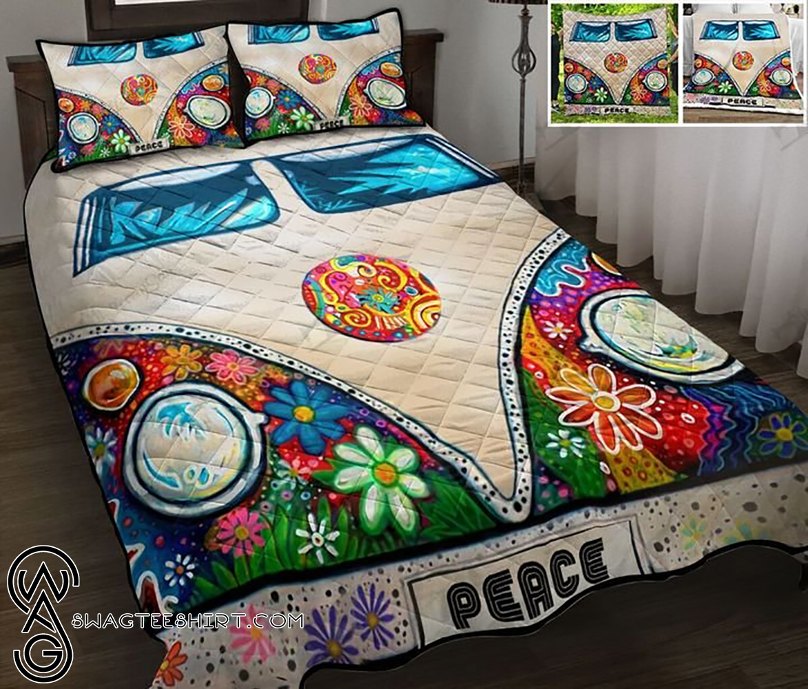 Camping rv peace hippie full printing quilt - Maria