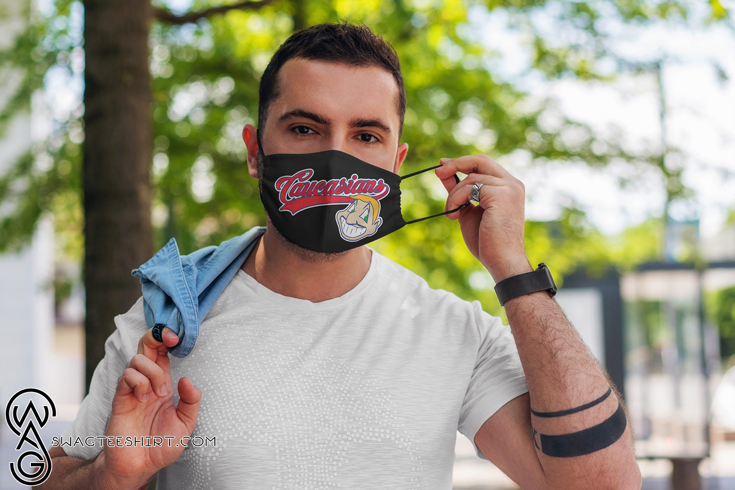 Caucasians cleveland indians full over printed face mask - maria