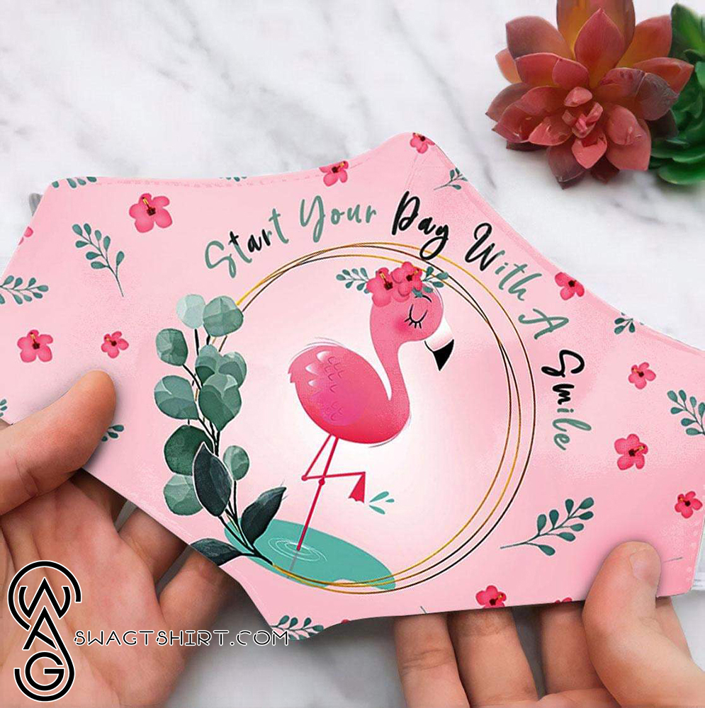 Floral flamingo start your day with a smile anti pollution face mask - maria