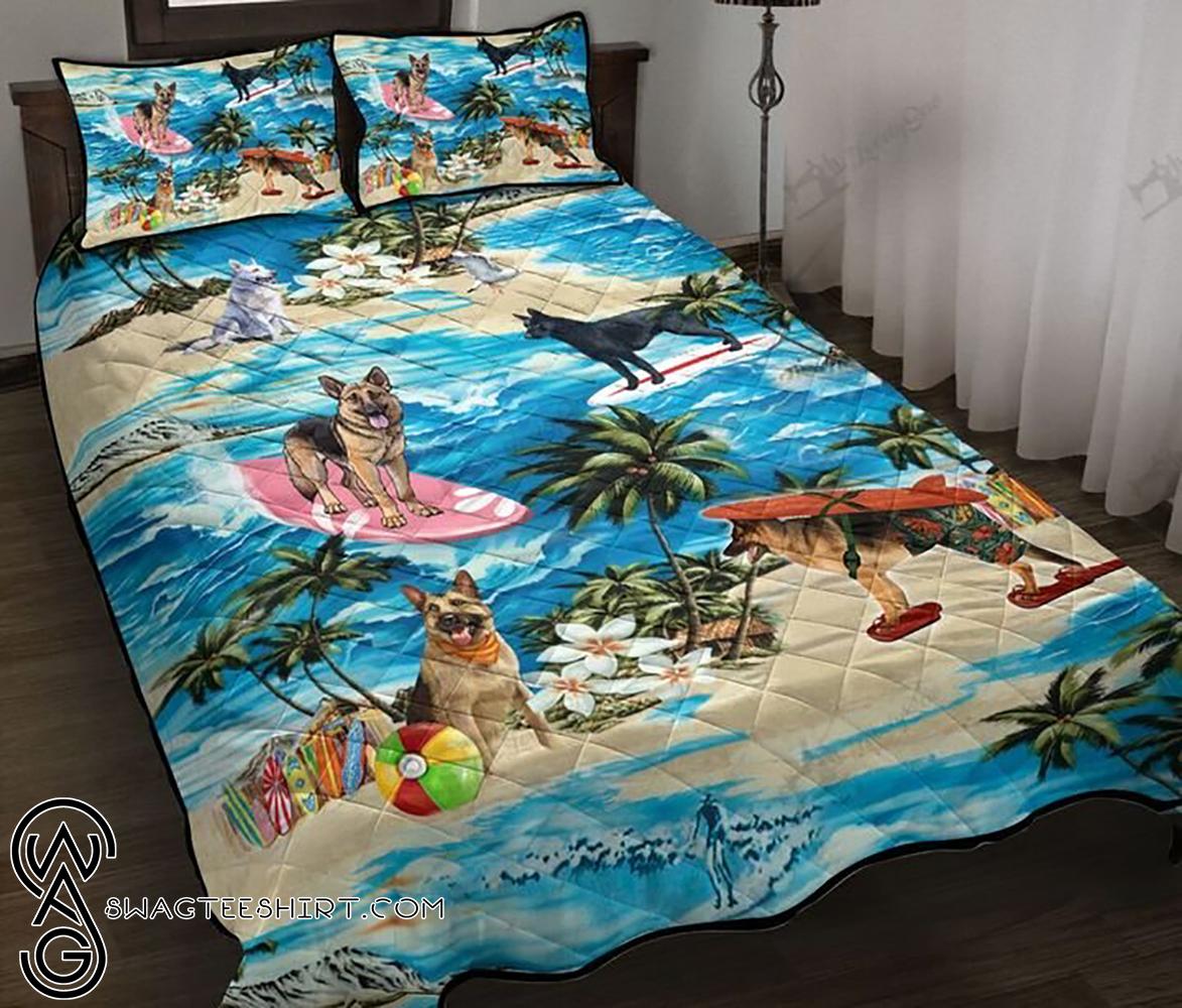 German shepherd hawaiian beach full printing quilt - Maria