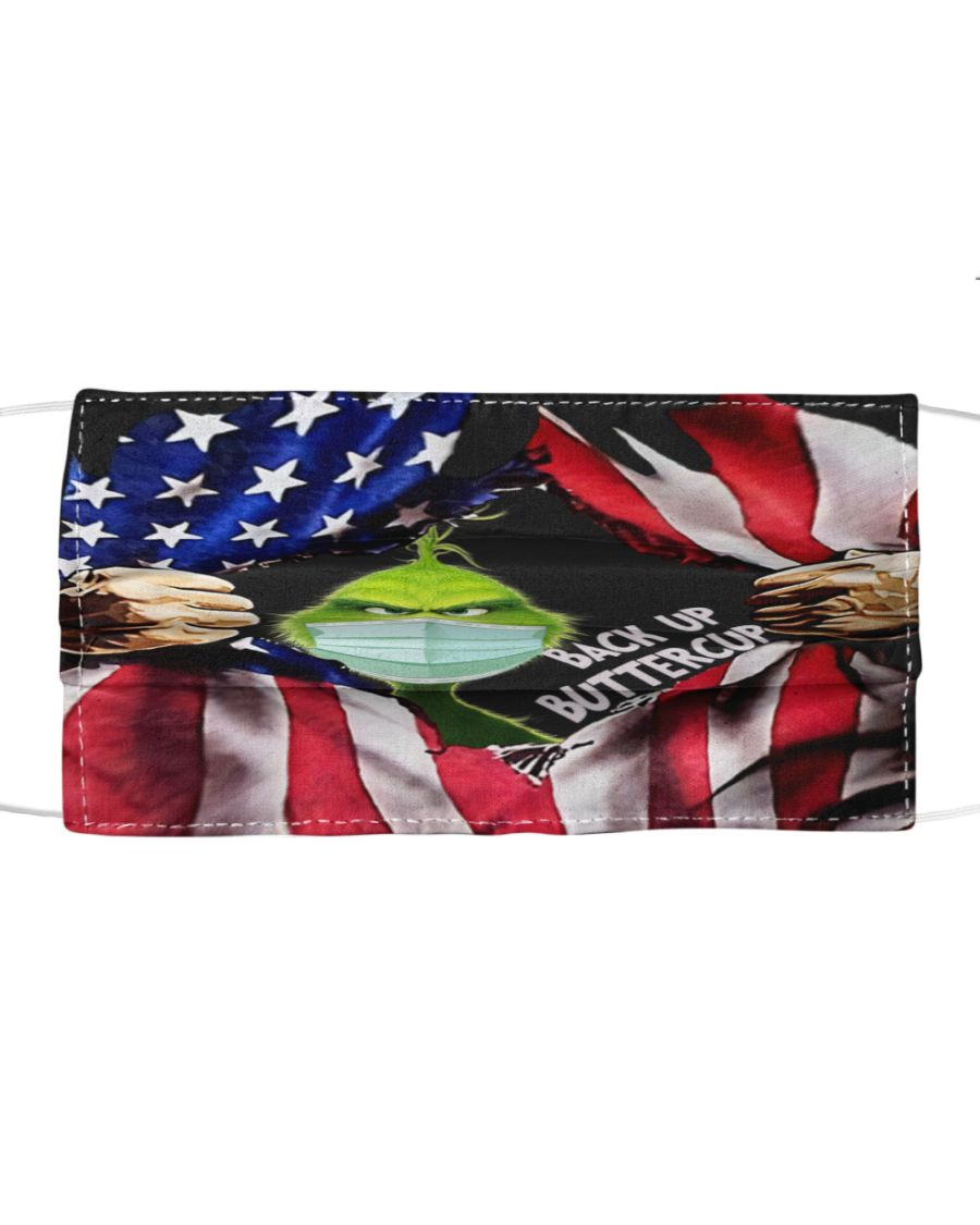 Grinch back up buttercup inside american flag face mask