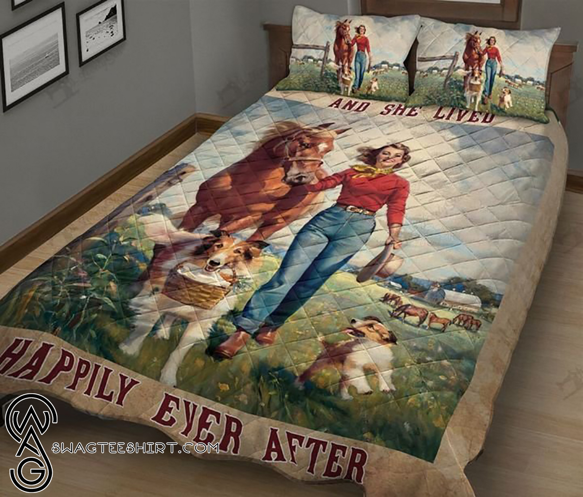 Horses dogs and she lived happily ever after full printing quilt - Maria