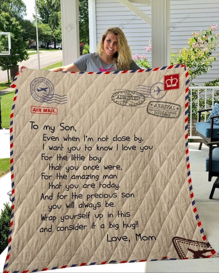 Letter to my son love mom full printing quilt - Maria