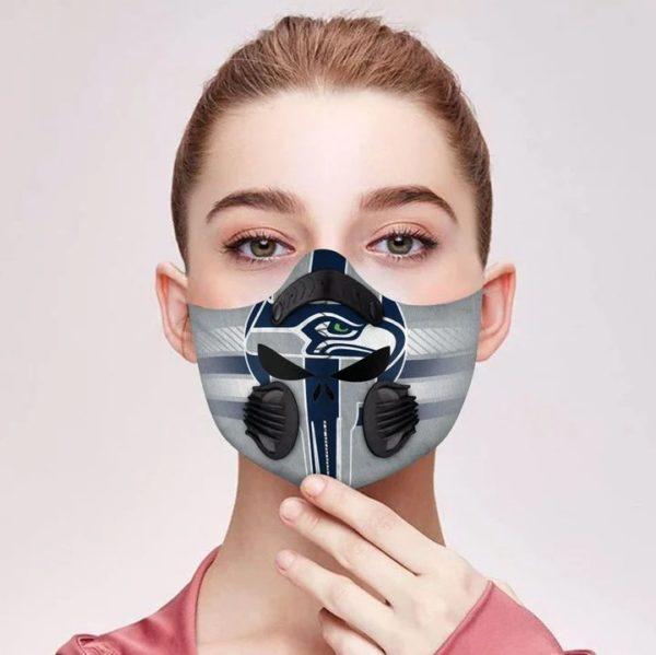 Seattle seahawks punisher skull filter face mask