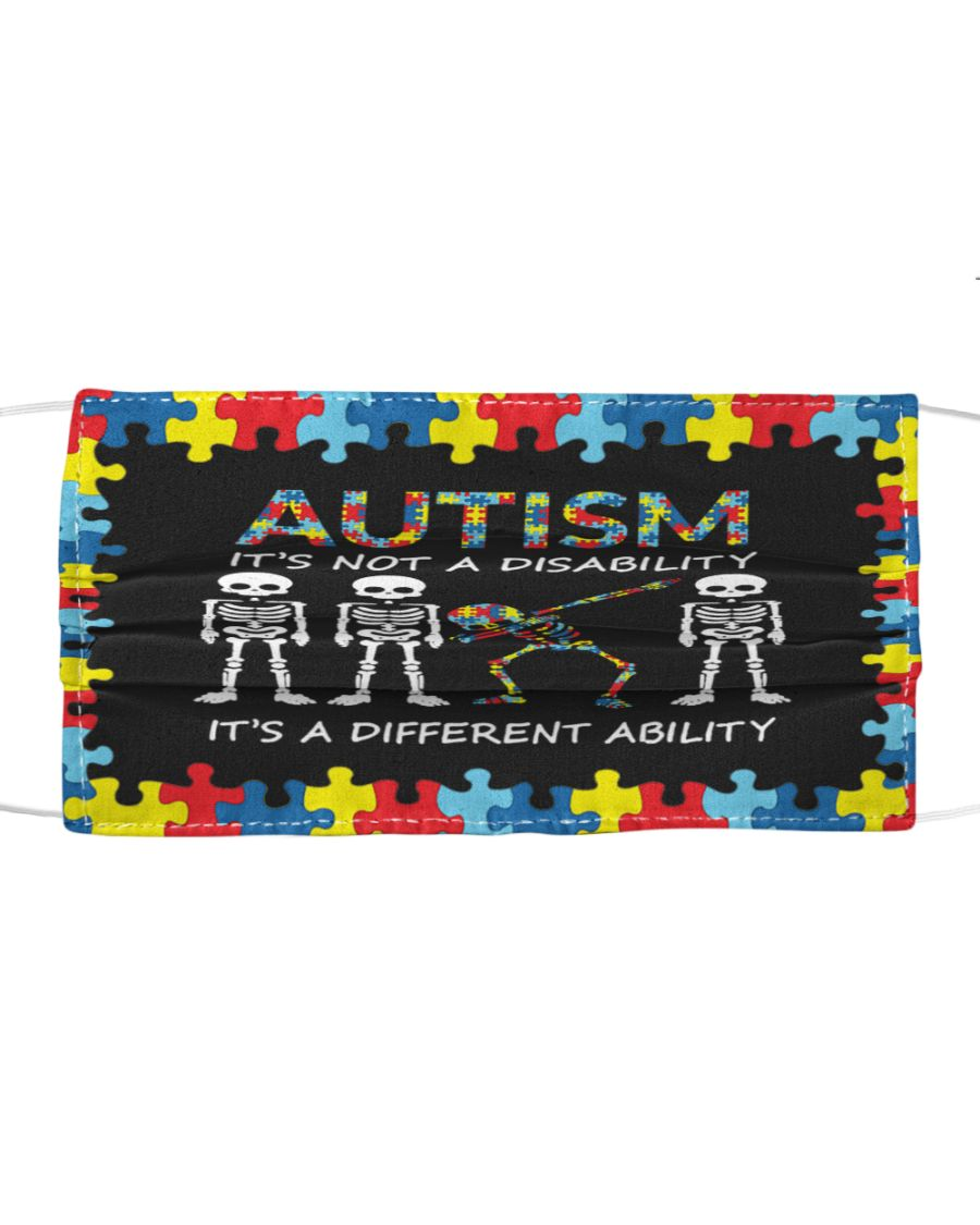 Skeleton skull Autism it's not a disability it's a different ability face mask