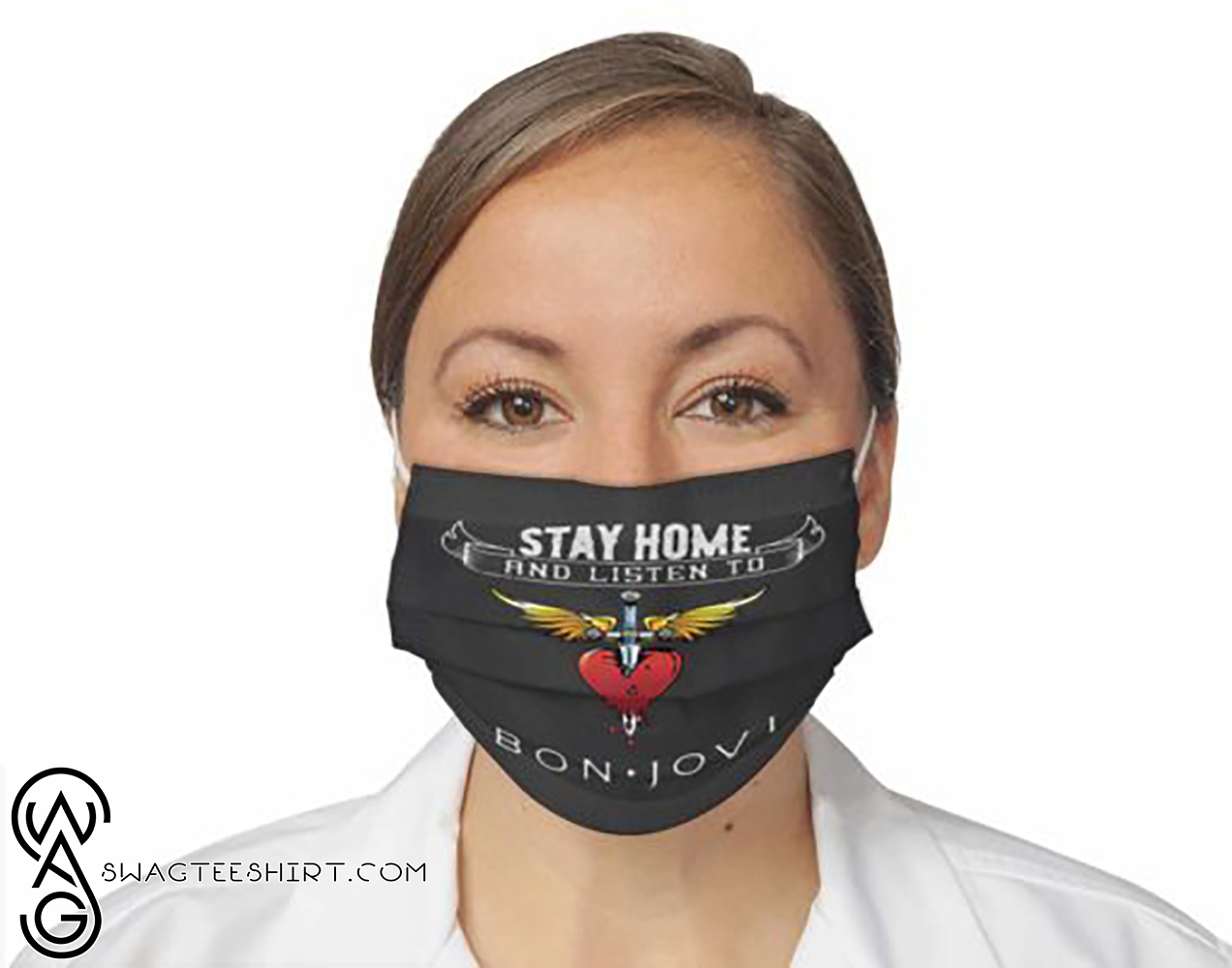 Stay home and listen to bon jovi all over printed face mask - maria