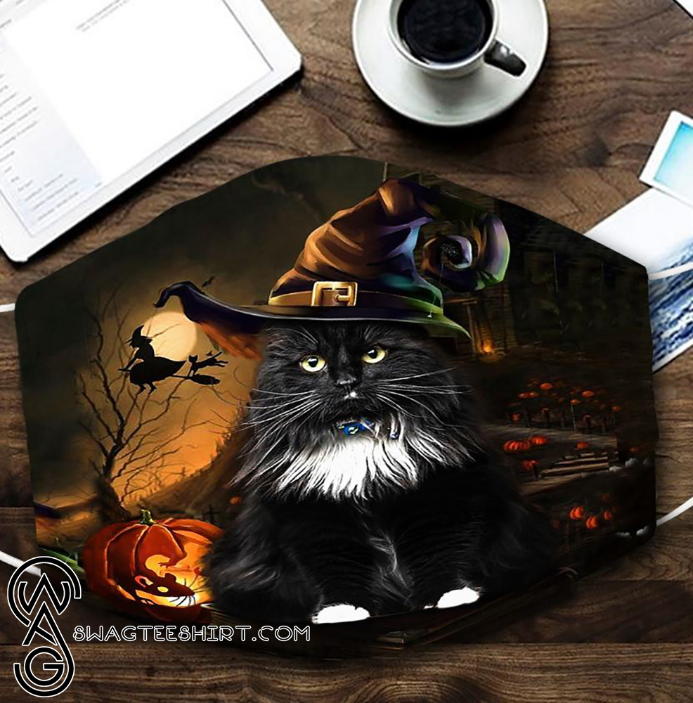 halloween black cat with witch hat all over printed face mask - maria