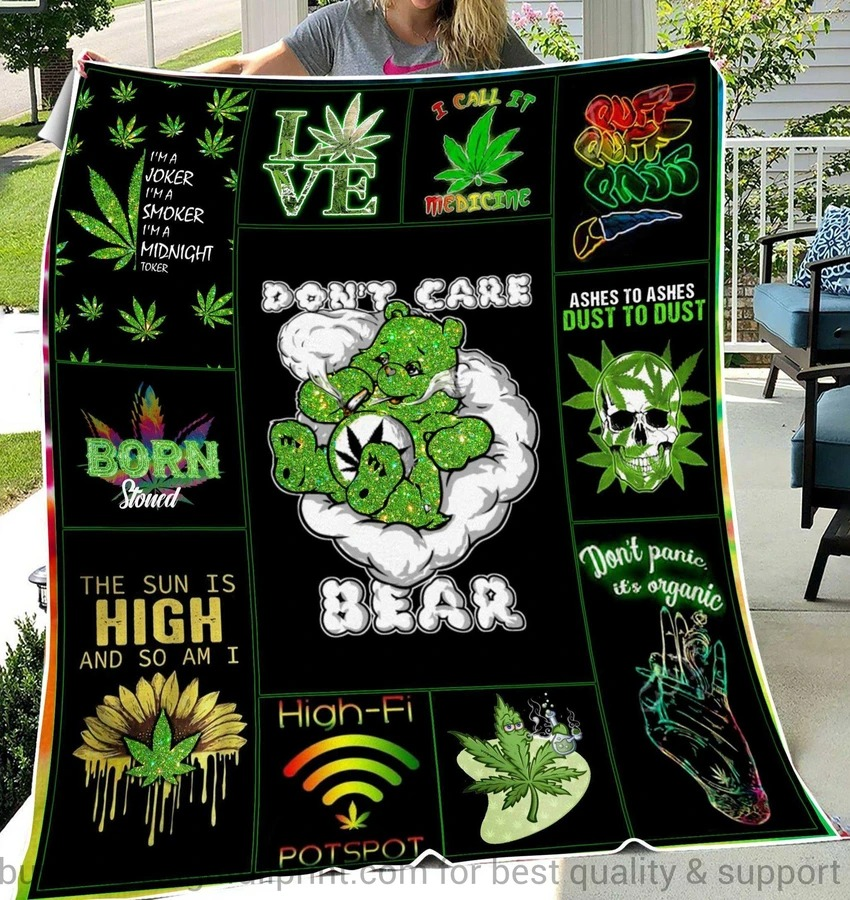 Don't care bear love bud quilt blanket