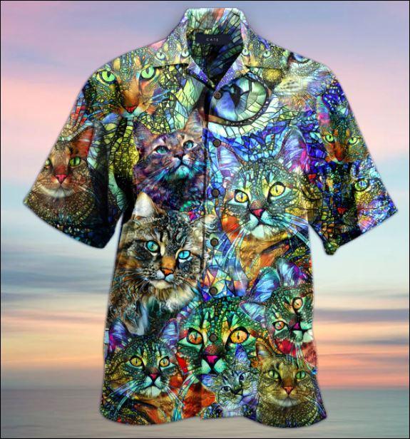 Kaleidoscope cat hawaiian shirt