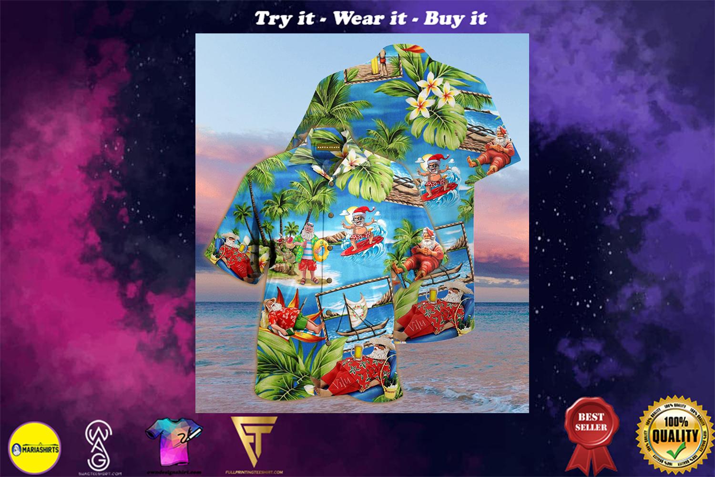 christmas santa claus surfing full printing hawaiian shirt - maria