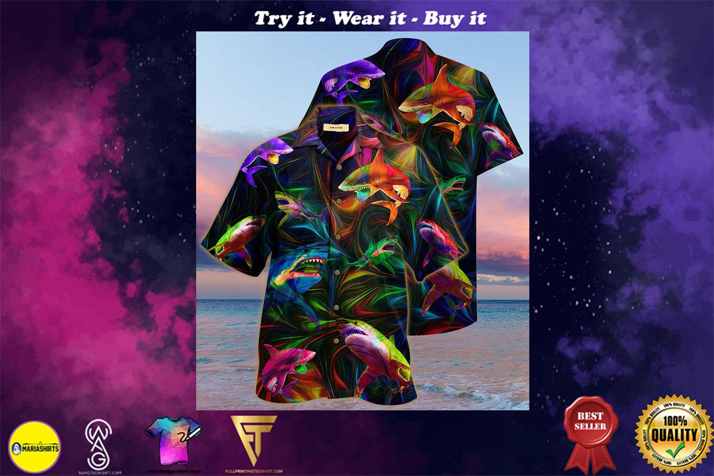 colorful shark full printing hawaiian shirt - maria