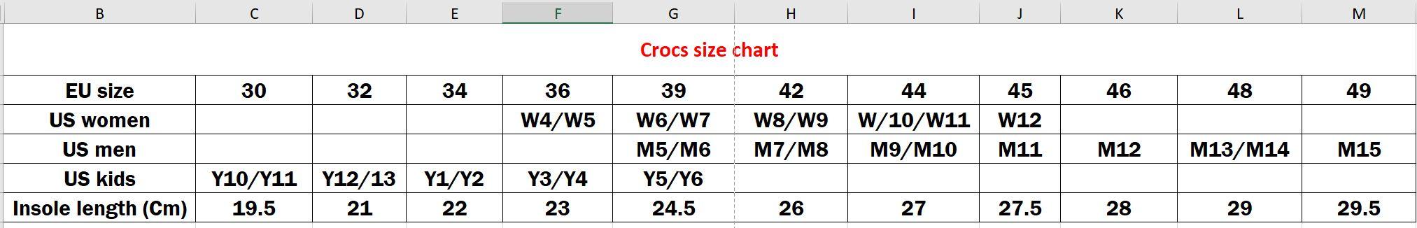crocs-size-chart