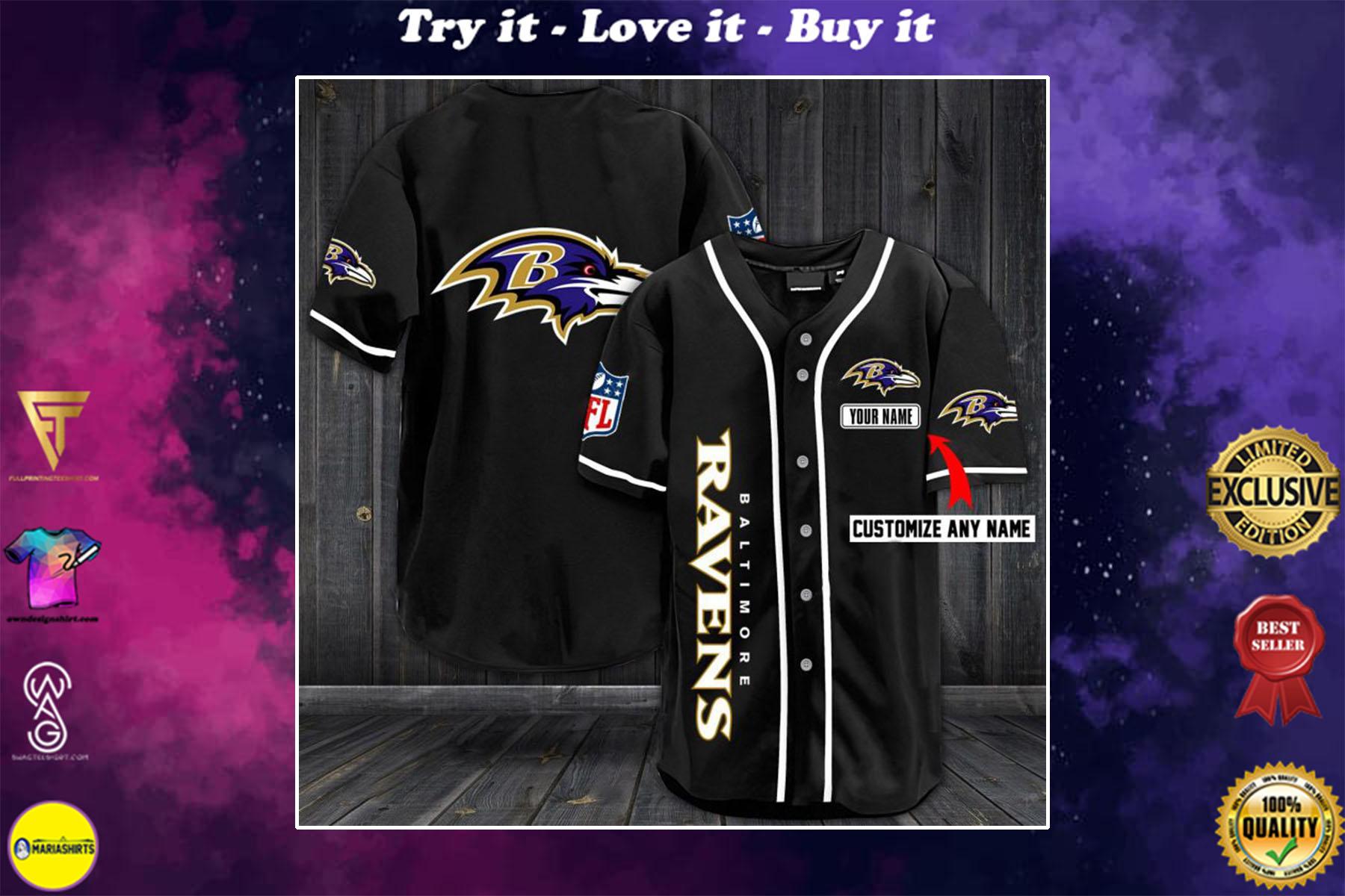 custom name baltimore ravens baseball shirt