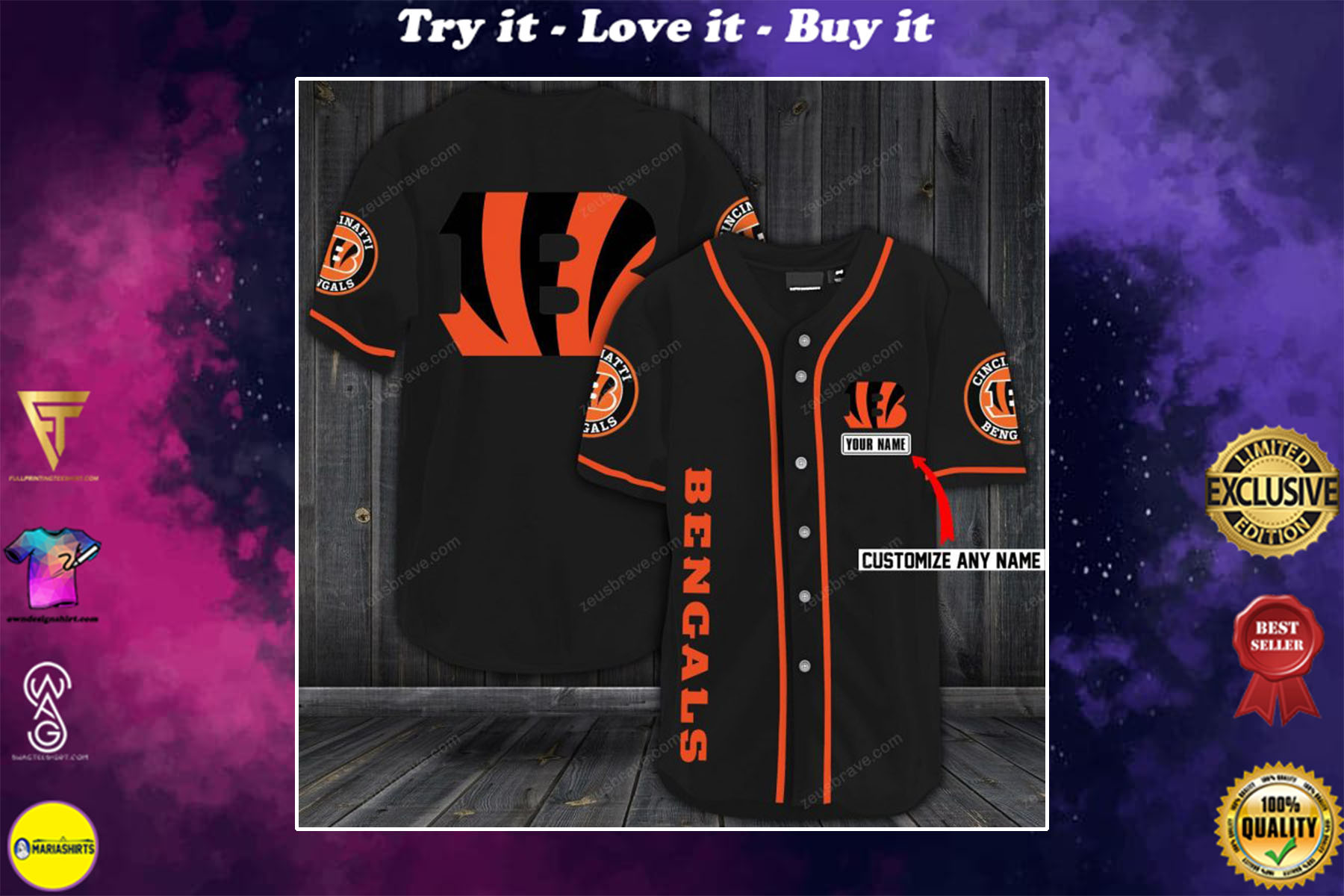 custom name cincinnati bengals baseball shirt - maria