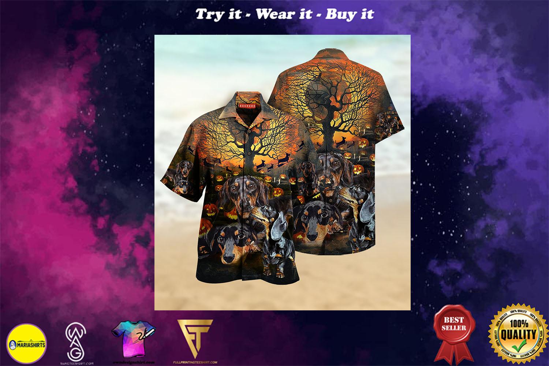 halloween dachshund full printing hawaiian shirt - maria