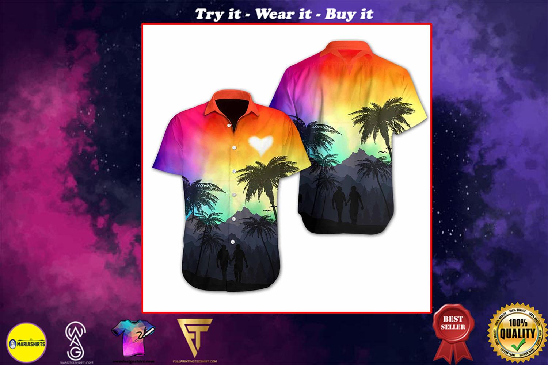 lgbt heart sunset full printing hawaiian shirt - maria