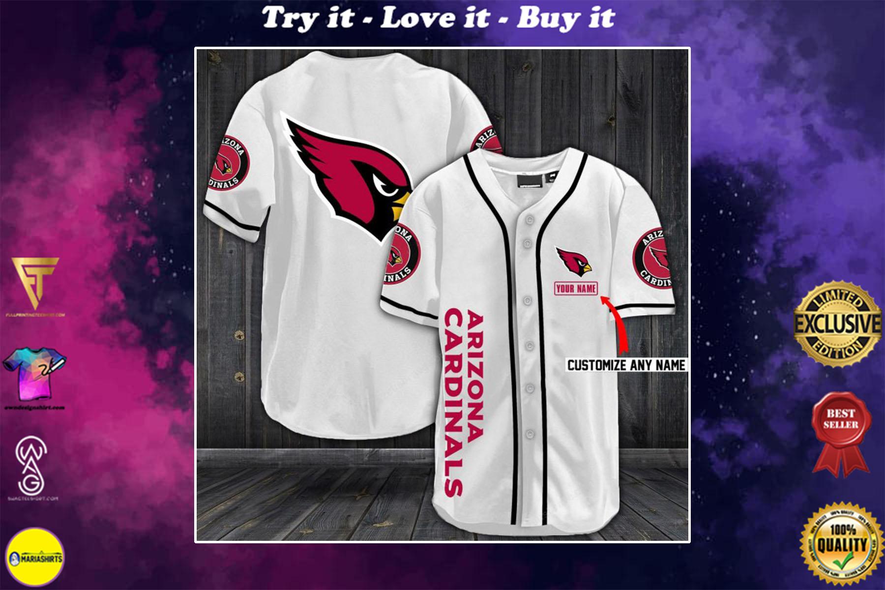 personalized name arizona cardinals full printing baseball shirt - maria
