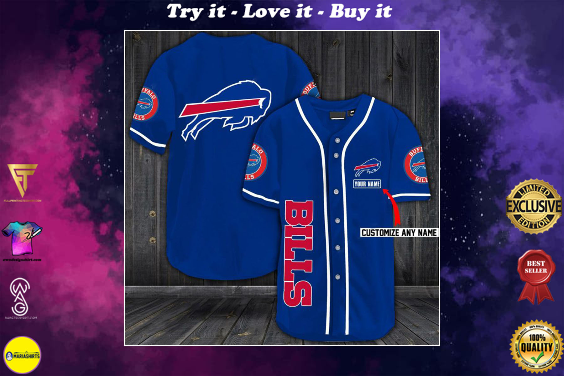 personalized name buffalo bills baseball shirt - maria