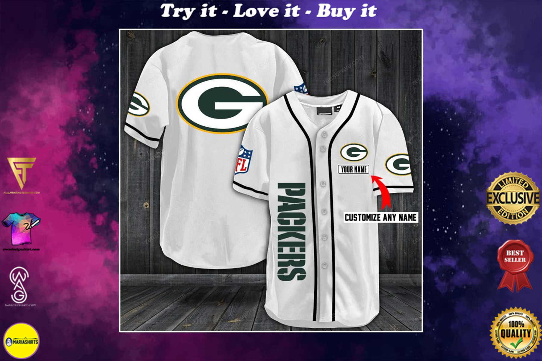 personalized name green bay packers full printing baseball shirt - maria