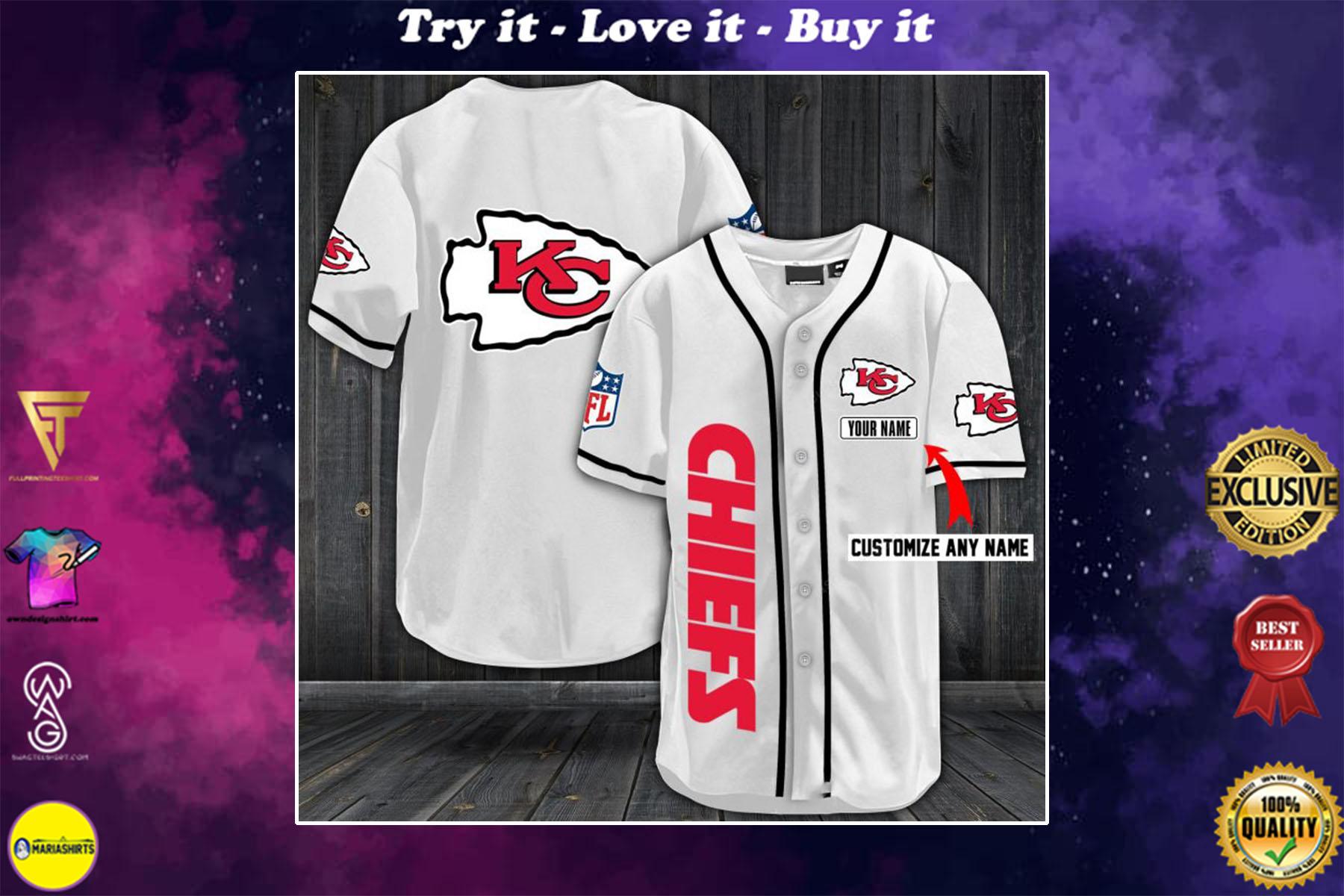 personalized name kansas city chiefs full printing baseball shirt - maria