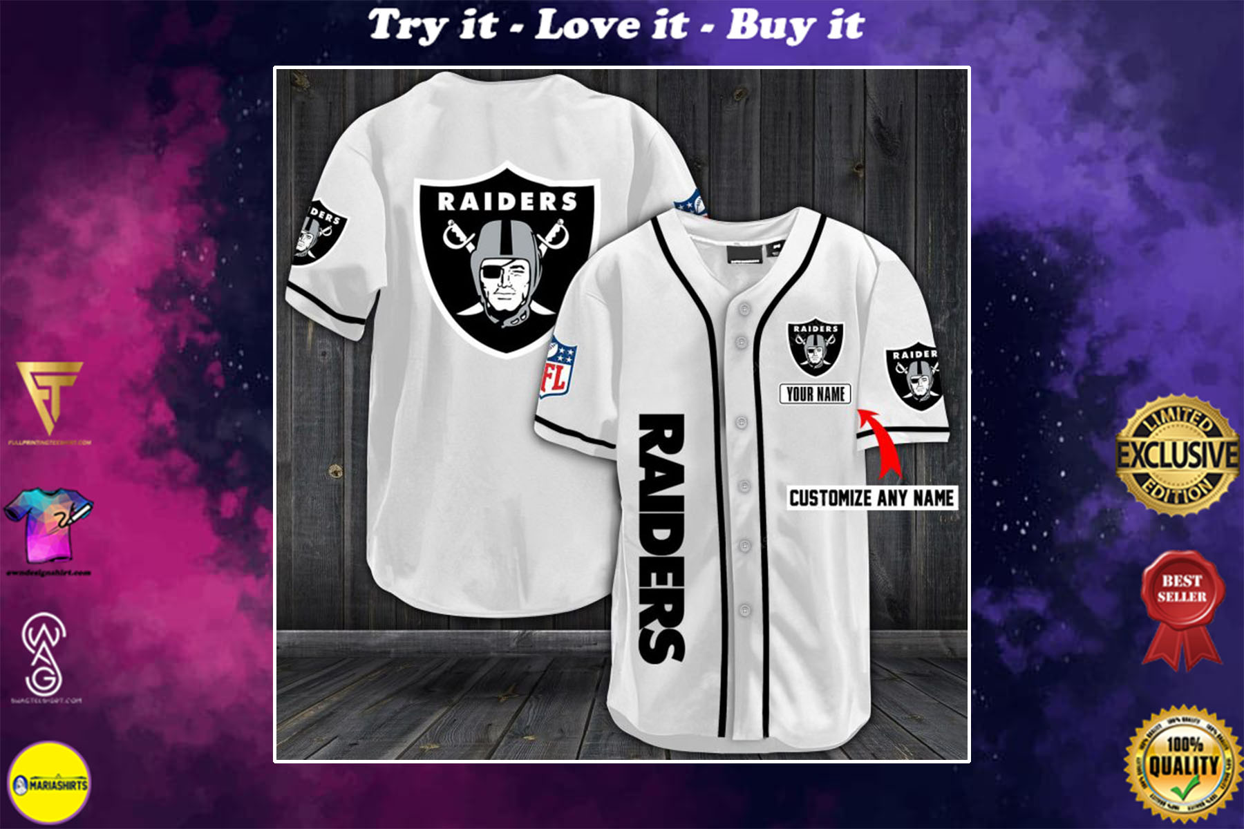 personalized name las vegas raiders full printing baseball shirt - maria