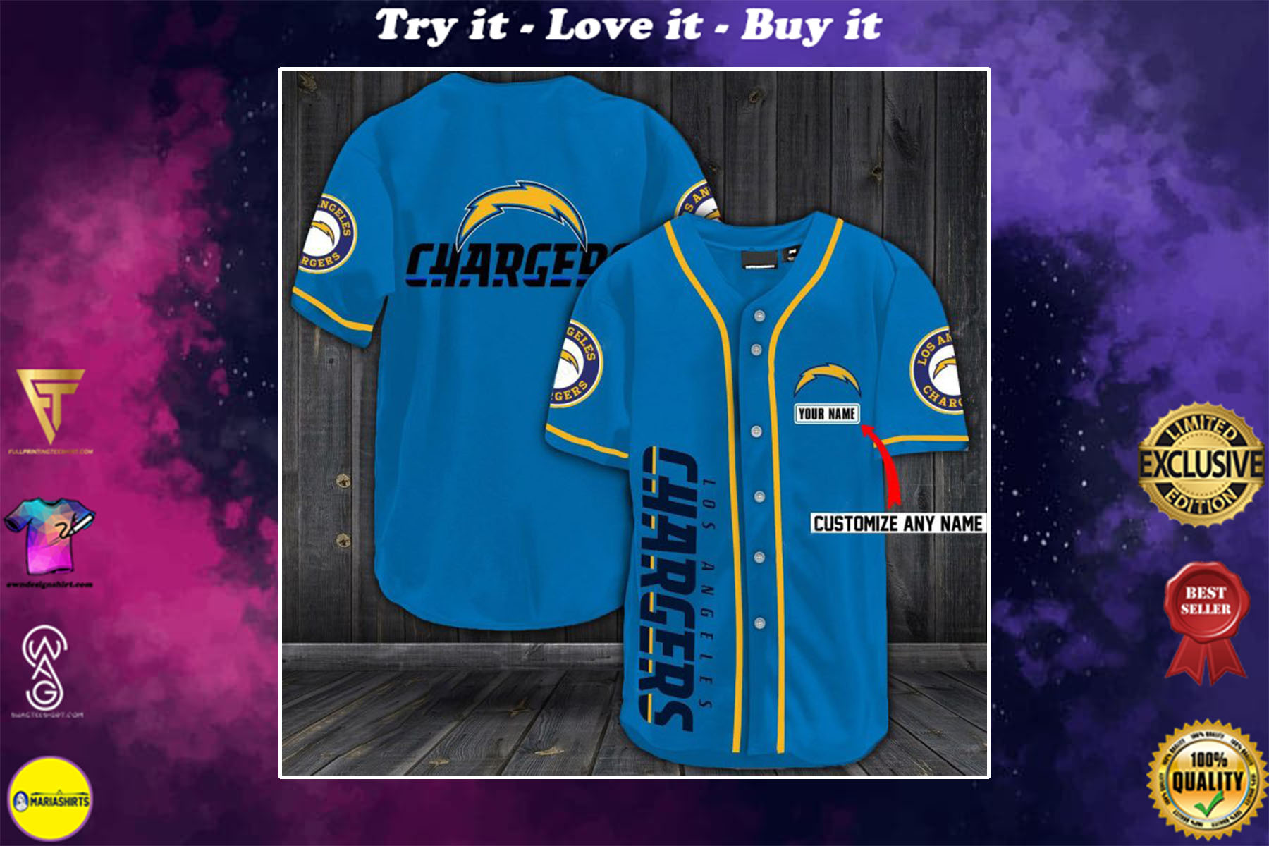 personalized name los angeles chargers baseball shirt - maria