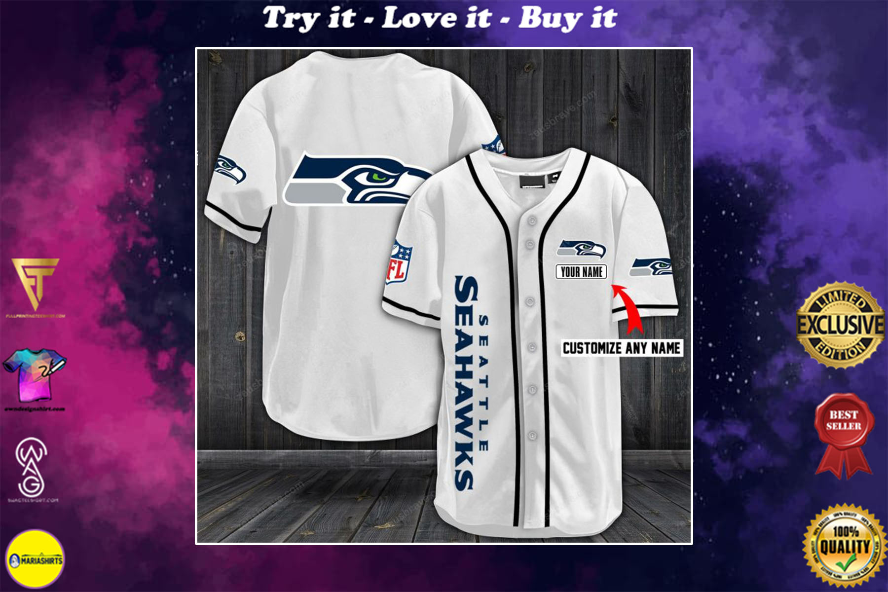 personalized name seattle seahawks full printing baseball shirt - maria