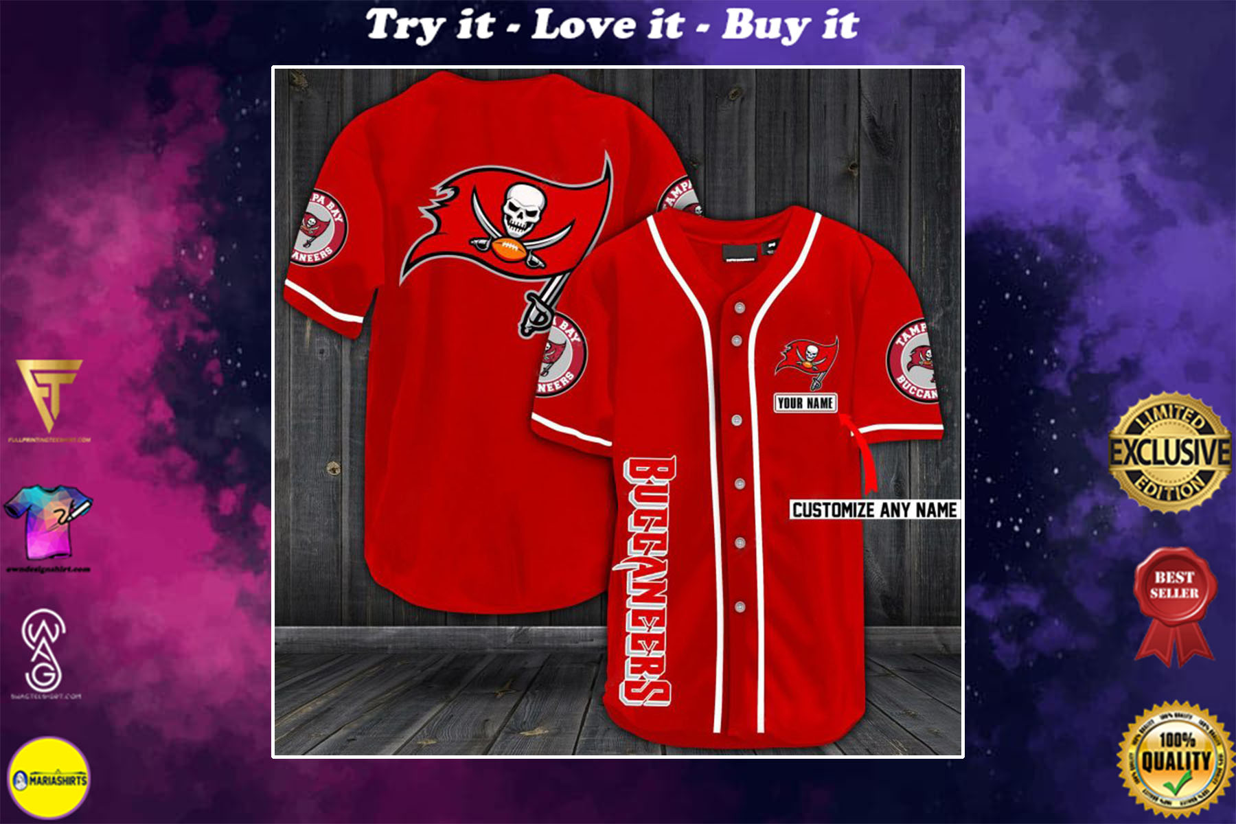 personalized name tampa bay buccaneers baseball shirt - maria