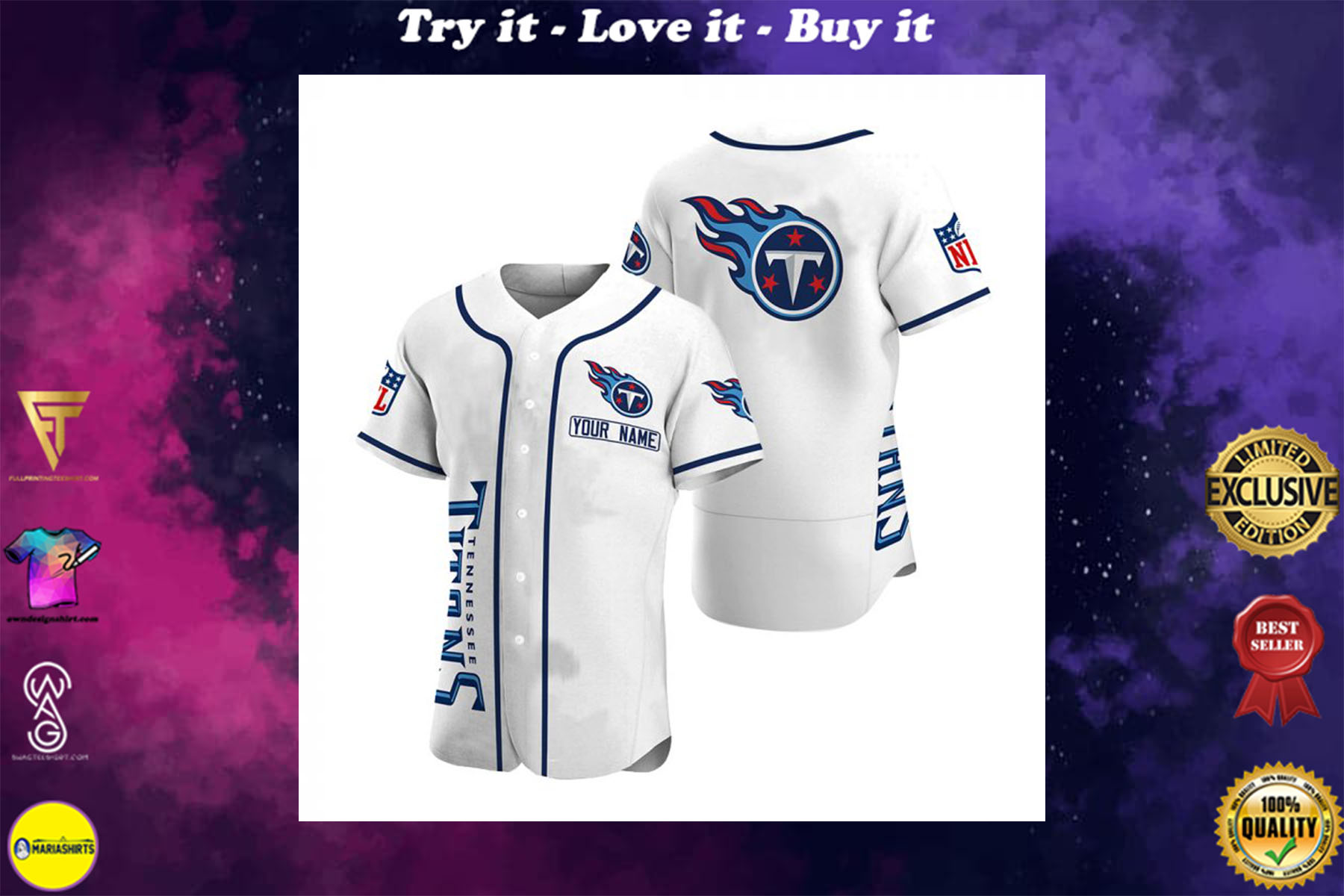 personalized name tennessee titans full printing baseball shirt - maria