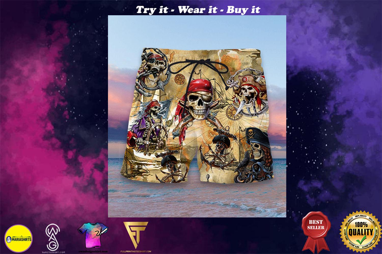 pirate skull full printing hawaiian shorts - maria