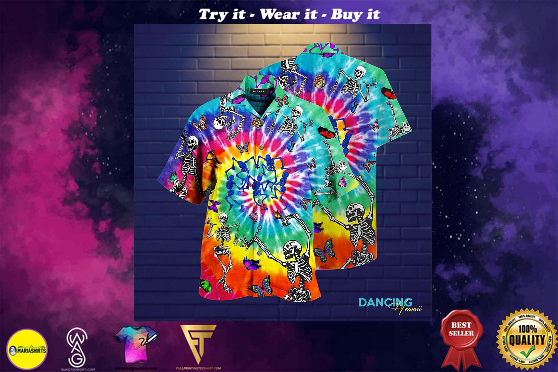 tie dye dancing skeletons full printing hawaiian shirt - maria