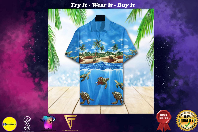 turtle sea full printing hawaiian shirt - maria