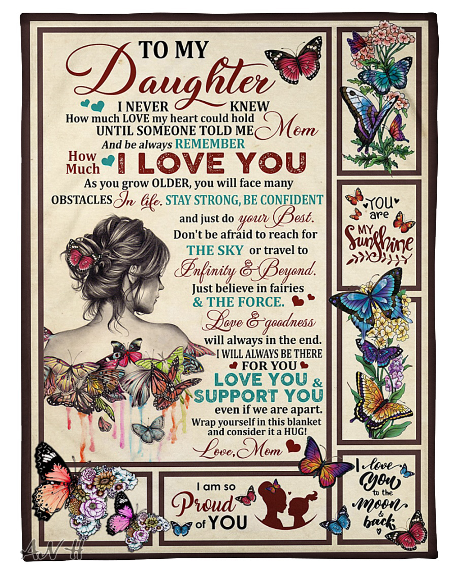 Butterfly girl to my daughter love mom blanket