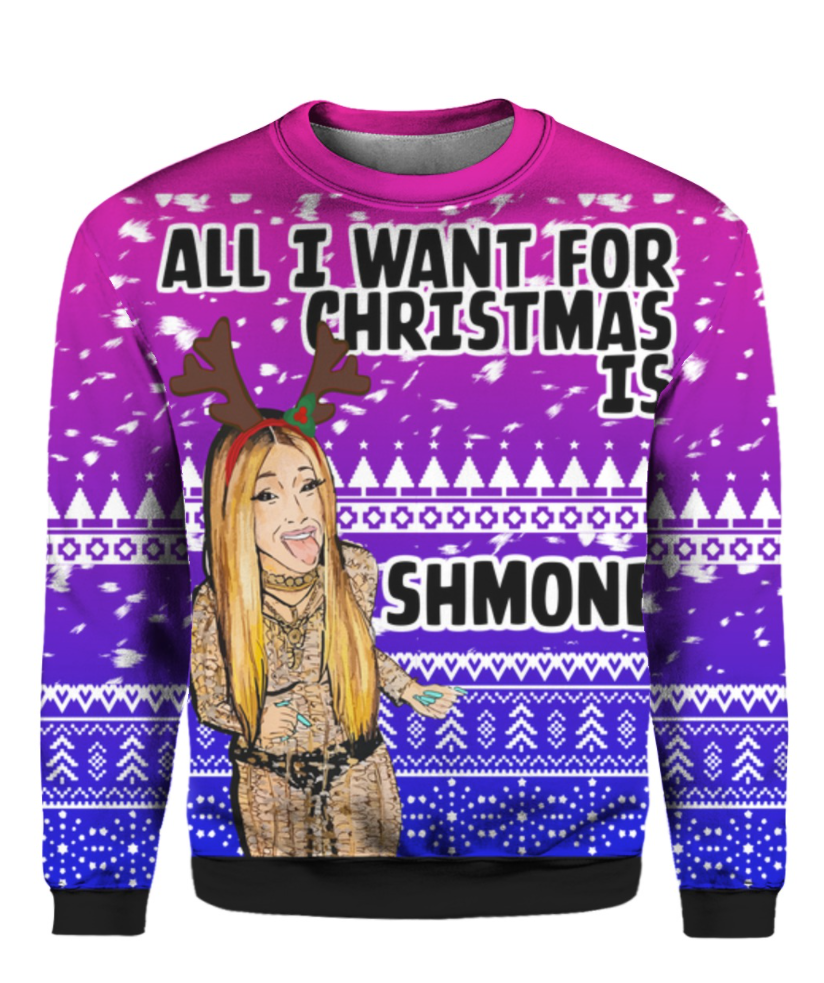 Cardi B all i want for Christmas is Shmoney 3D ugly sweater