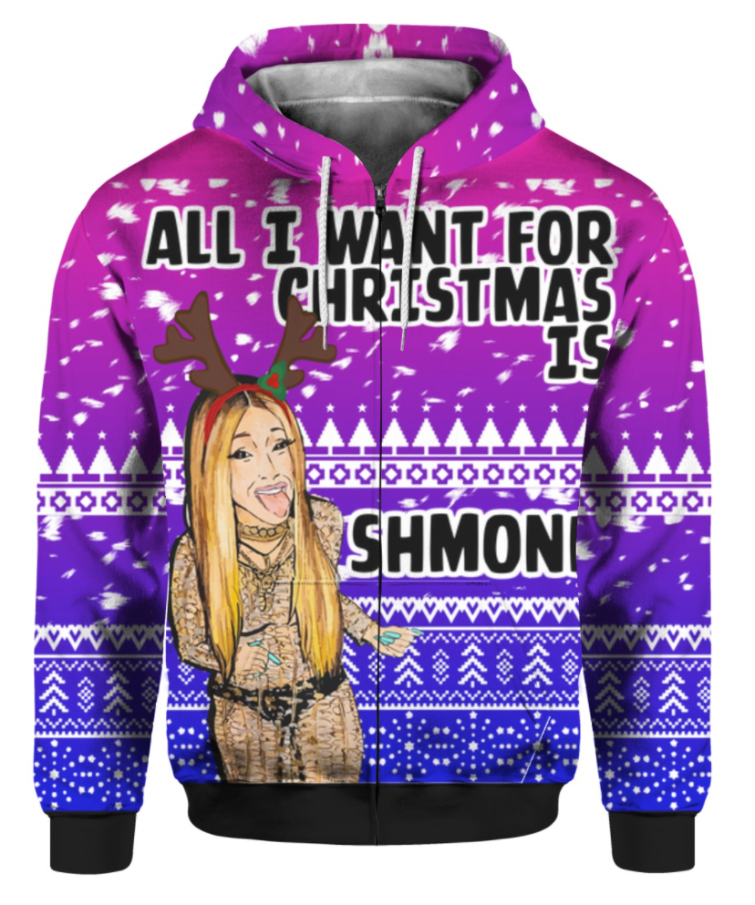 Cardi B all i want for Christmas is Shmoney 3D ugly sweater - dnstyles