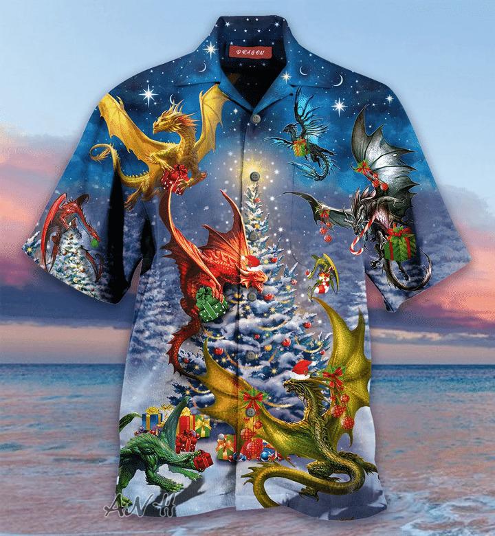 Christmas dragon family reunion unisex hawaiian shirt
