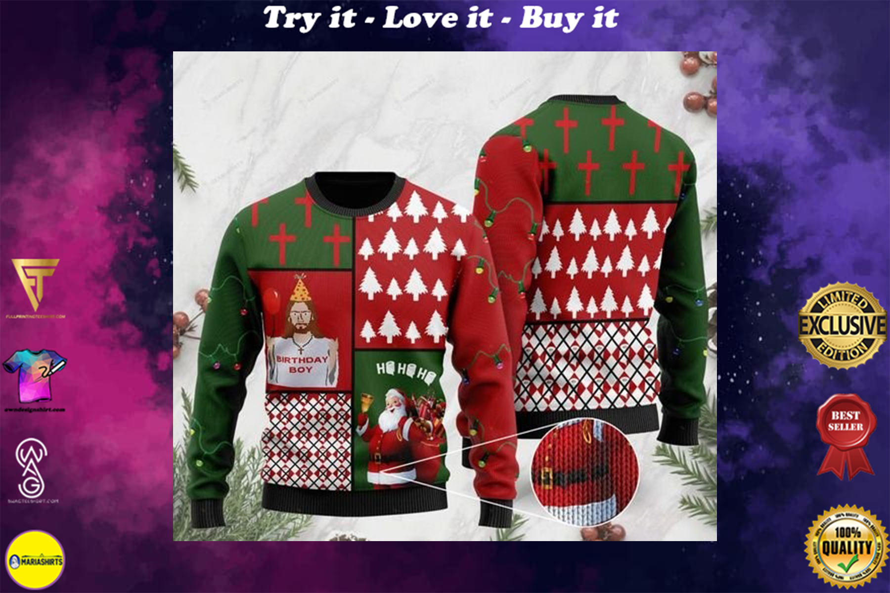 [highest selling] Jesus birthday boy and santa claus ho ho ho with toilet paper full printing ugly sweater - maria