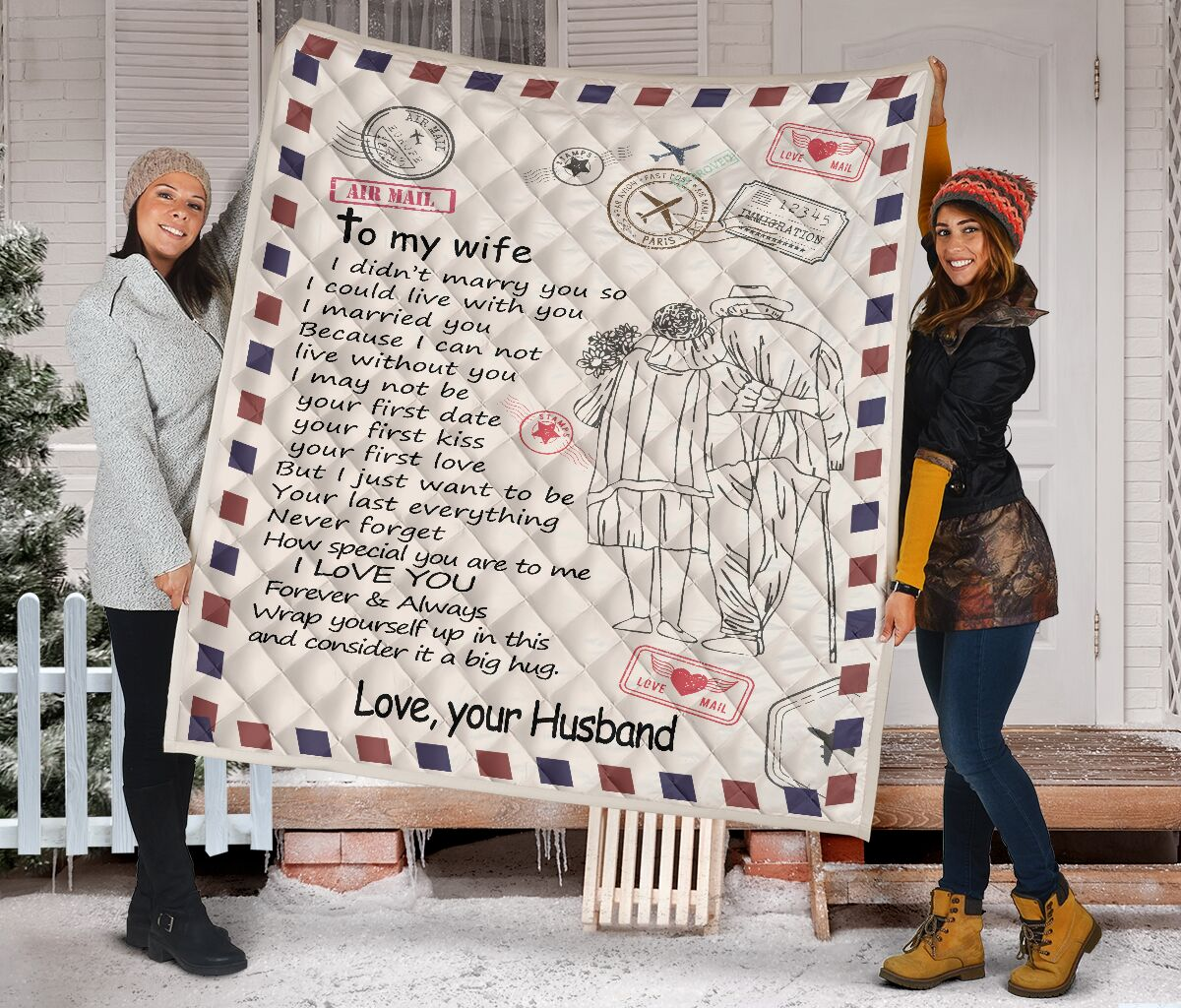 Letter air mail to my wife i didn't marry you quilt blanket