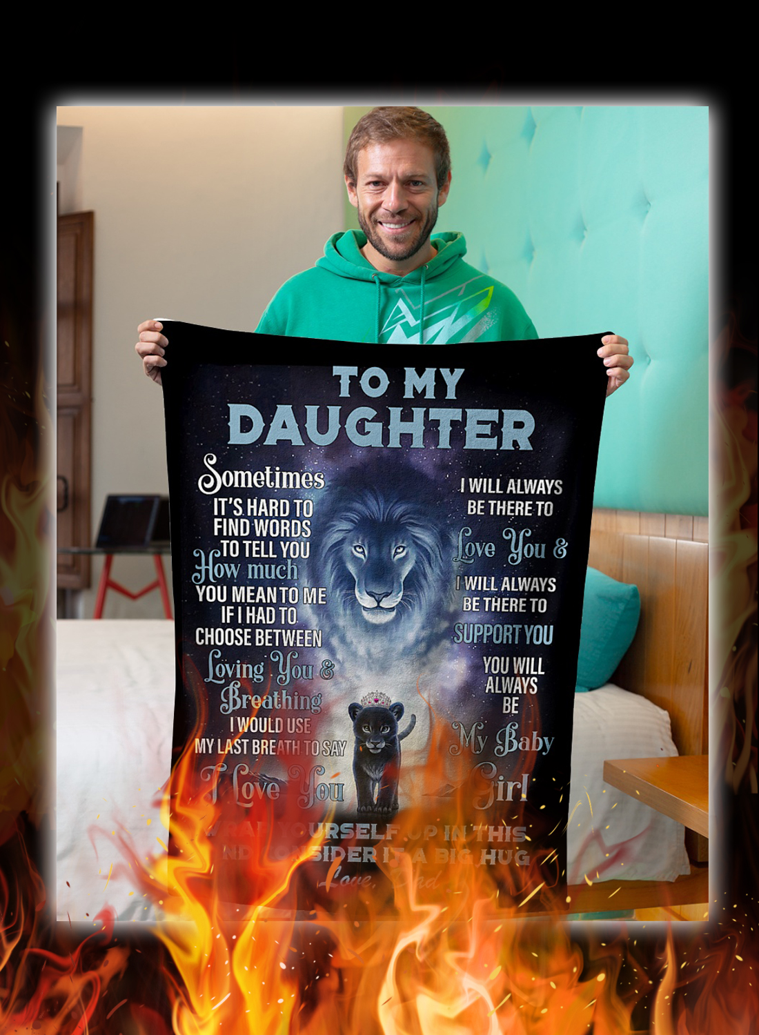 Lion to my daughter love dad blanket 1