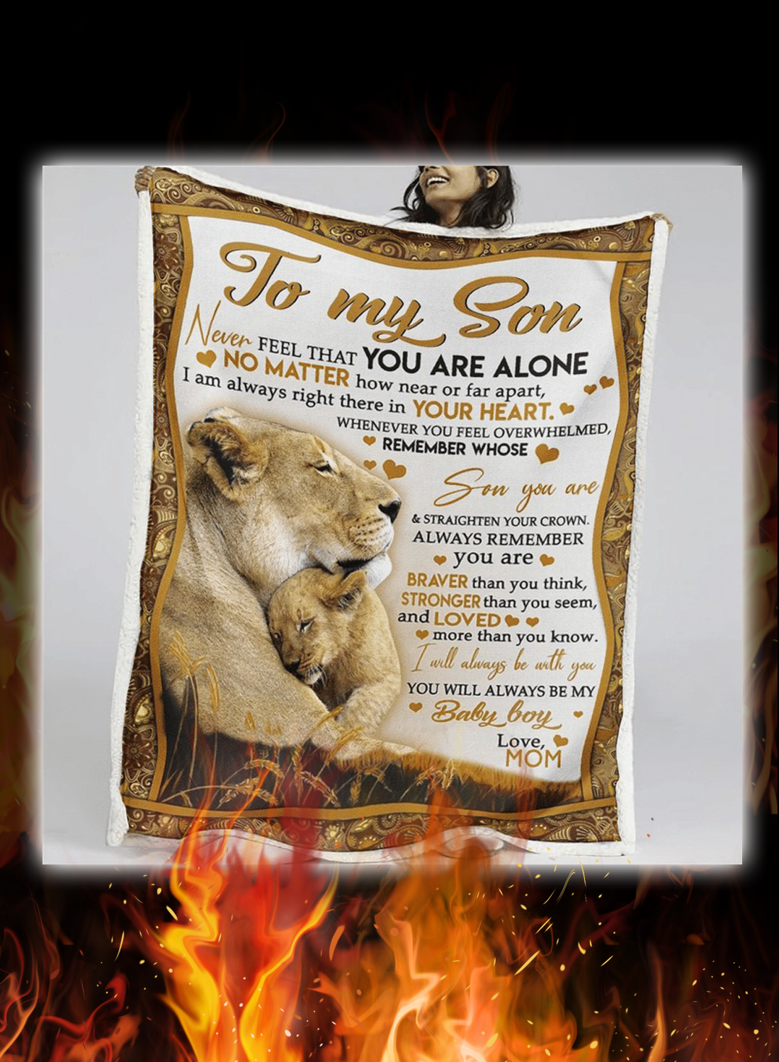 Lion to my son love mom quilt 3
