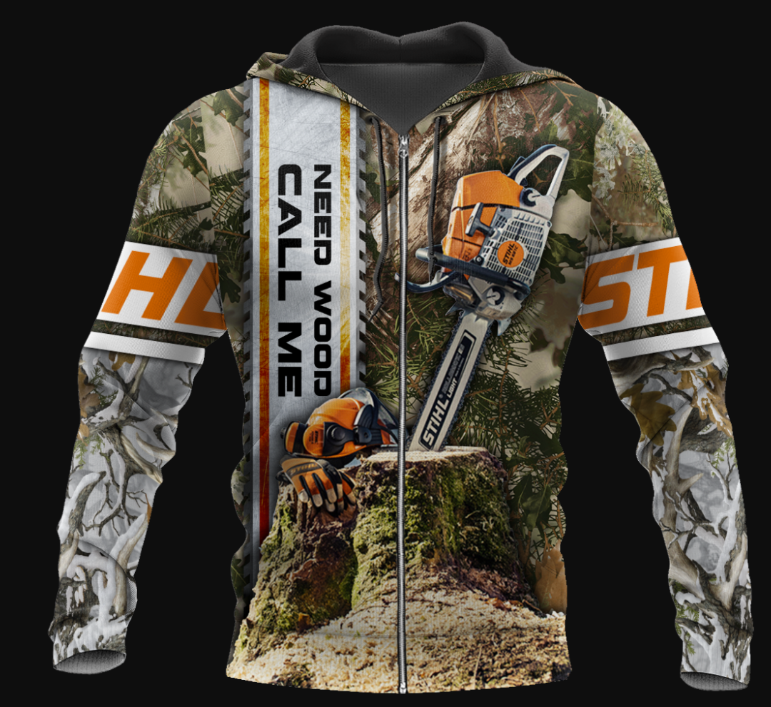 Need wood call me all over printed 3D hoodie - dnstyles