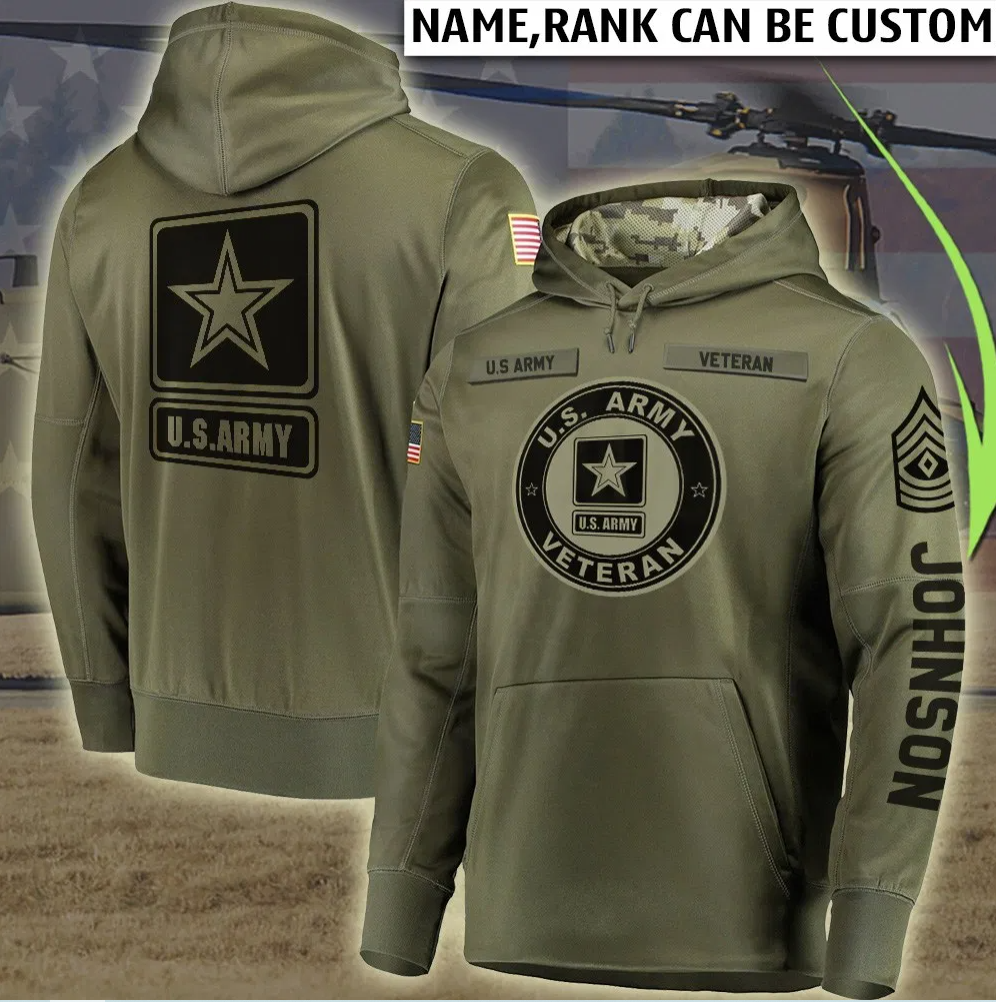 Personalized US Army veteran all over printed 3D hoodie