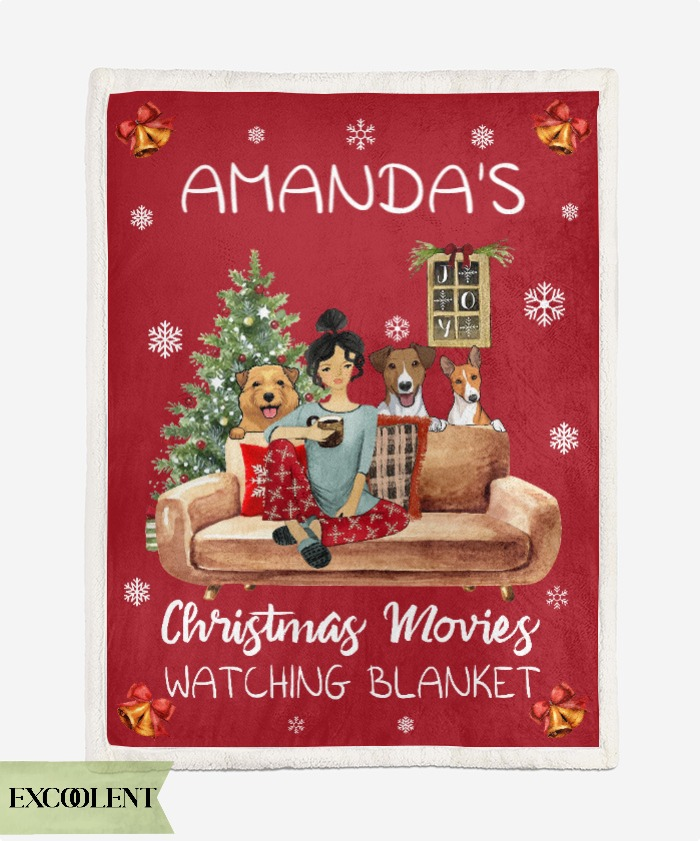 Personalized custom name mom with dogs christmas movies watching blanket