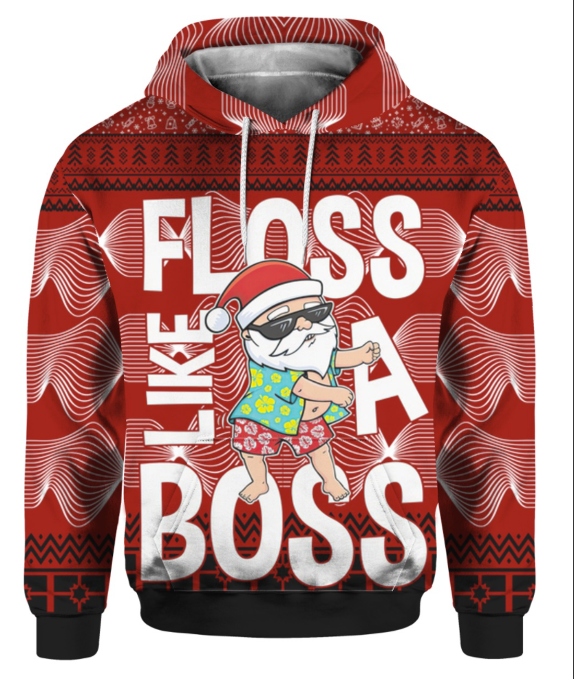 Santa Claus floss like a boss 3D ugly sweater - dnstyles