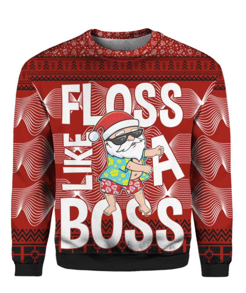 Santa Claus floss like a boss 3D ugly sweaterSanta Claus floss like a boss 3D ugly sweater