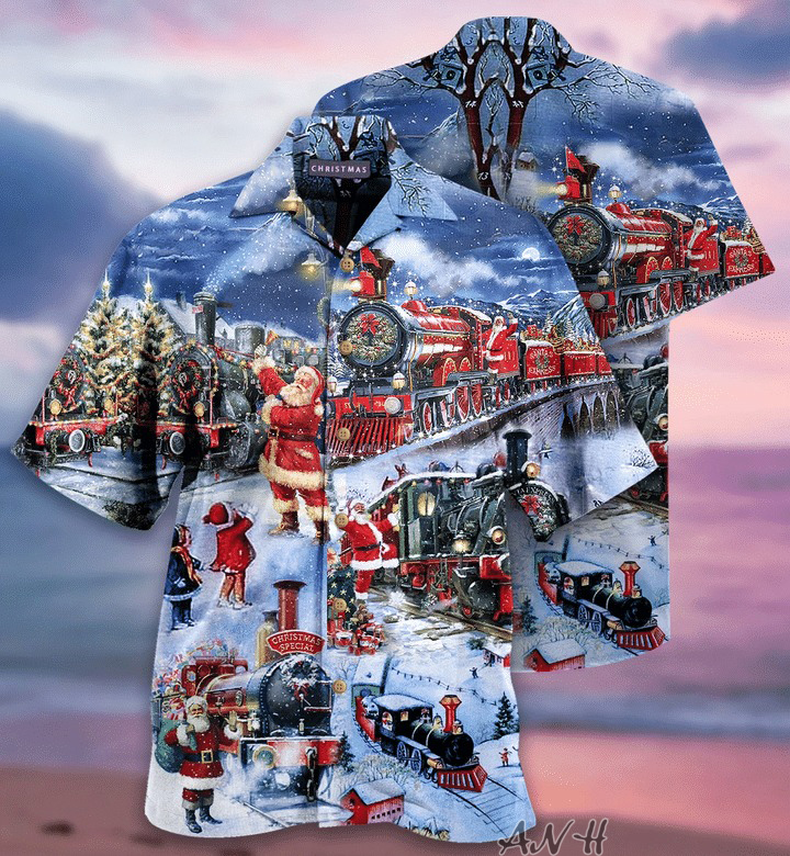 Santa Train to christmas unisex hawaiian shirt