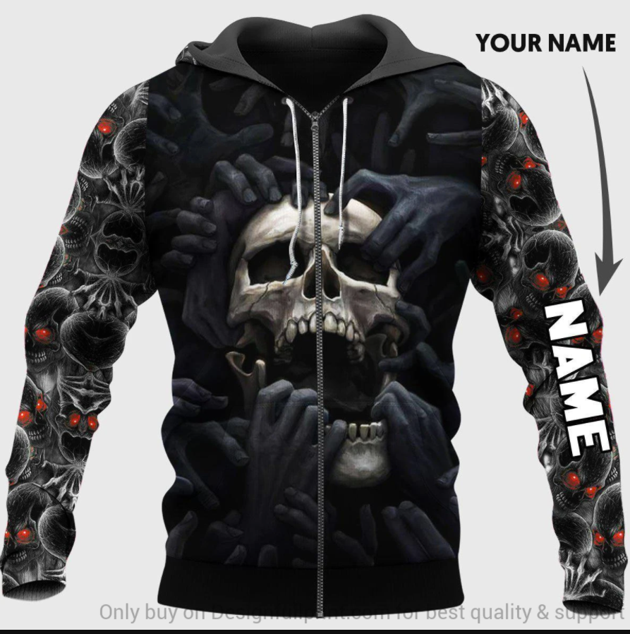 Skull and black hand all over printed 3D hoodie - dnstyles